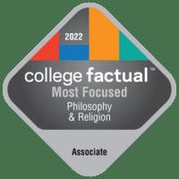 Most Focused Associate Degree Colleges for Philosophy & Religious Studies