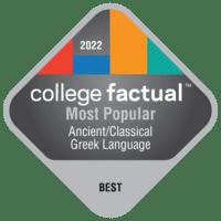 2022 Best Colleges in Ancient/Classical Greek Language & Literature